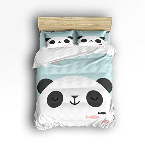 T&H Home Cute Panda Headshot for Kids Bedding Duvet Cover Set,4-Piece Suit Twin Size,100% Cotton Bed Sheets Set,Soft,Comfortable,Breathable