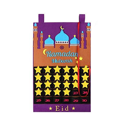 liaobeiotry Calendrier murale, à suspendre, en feutrine, au motif Ramadan Eid Mubarak Kareem, décoration numérotée, compte à rebours, calendrier de Noël pour enfants, filles, garçons