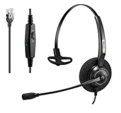 in budget affordable Arama Phones RJ9 headset with professional noise canceling microphone and mute switch. Wired office …