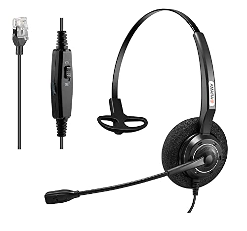 Arama Phones Headset RJ9 with Pro Noise Canceling Mic and Mute Switch Wired Office Headset Compatible with Polycom Mitel Plantronic Avaya Landline Phones