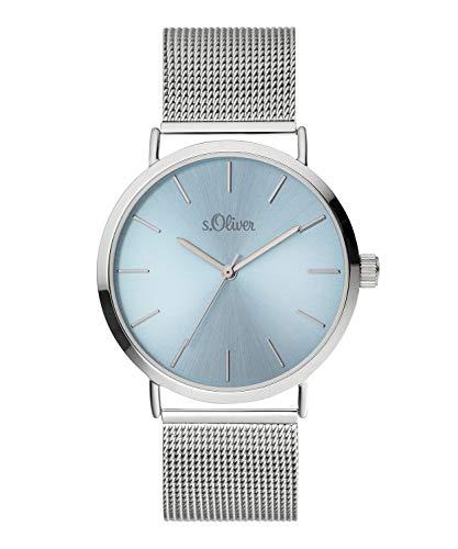 s.Oliver Damen Analog Quarz Armbanduhr mit Edelstahlarmband SO-3884-MQ
