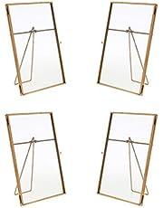 FLAMEER Glazen fotolijst goud metaal collage fotogalerij metalen lijst glazen lijst fotolijst om neer te zetten 4er / set