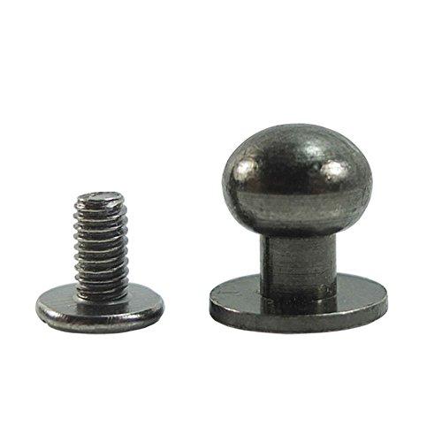 Bluemoona 50 Sets - Head Button 8mm 5/16' Brass Stud Screwback Screw Back Spots for Leather Rivet (Gunblack)