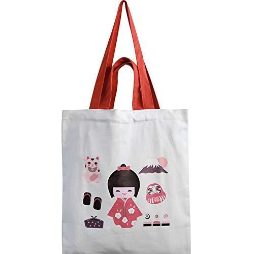Vintage Canvas Tas Vrouwelijke Liefde Schouder Schattig Geisha Illustratie Kunst College Wind Studenten Dragen Milieuvriendelijke Tas Ins