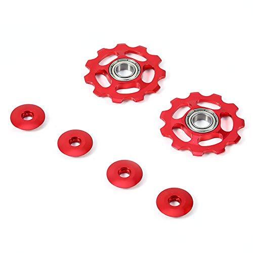 Qii lu 1 par de polea de Cambio, aleación de Aluminio 11T CNC Rueda polea de Cambio Trasero para Bicicleta Bicicleta(Rojo)