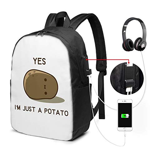Yes, I Am Just A Potato College Laptop Backpack Bag with USB Charging Port Computer Business Backpacks for Women Men School Student Casual Hiking Travel Daypack