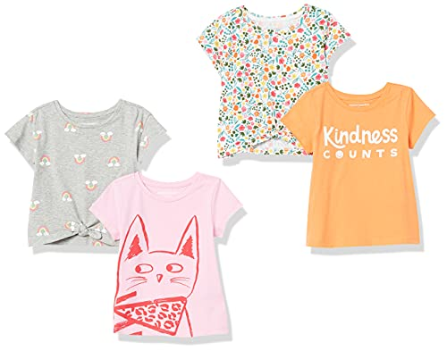 Amazon Essentials Short-Sleeve T-Shirts Camiseta, Paquete de 4 Flores cálidas, 9-10 años, Pack de 4