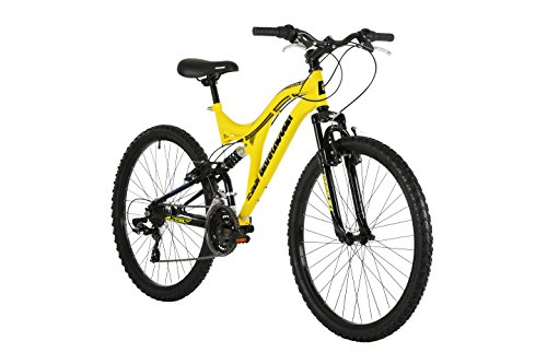 Barracuda Unisex Draco Ds Wheel 18 Inch Full Suspension Frame Mountain Bike, Yellow, 26 Inch