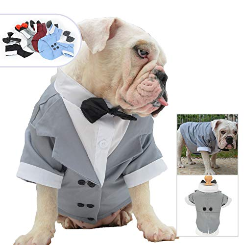 Lovelonglong Bulldog Costume Dog Suit Formal Tuxedo with Black Bow Tie Wedding Clothes for Pugs/French Bulldog/English Bulldog/American Pit Bull Gray B-M