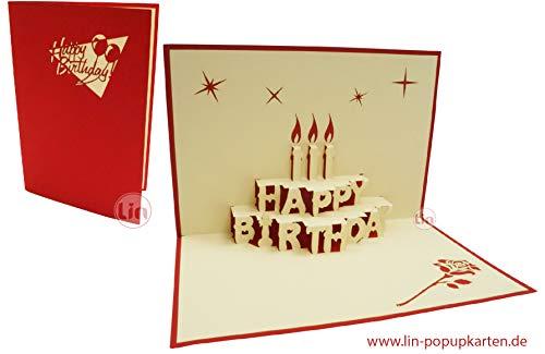 3D Pop-Up Carte d'anniversaire Happy Birthday Motif gâteau Rouge