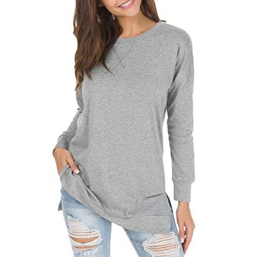 levaca Women's Long Sleeve Loose Casual Sweatshirt Pullover Tunic Tops
