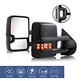Towing Mirrors fit for 2007-2013 Chevy Silverado GMC Sierra / 2014 Silverado GMC Sierra 2500HD 3500HD tow mirrors with Power Glass Heated Turn Signal Lights Backup Lamp Extendable Pair Set