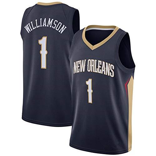 DXG NBA New Orleans Pelicans #1 Zion Williamson Camiseta de Baloncesto Ropa Deportiva Transpirable sin Mangas Bordado Deportivo Chaleco Top,Negro,M