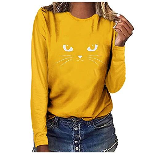 Dosoop Black Cat Shirts for Women 3D Black Printed Cat Funny Graphic Cute Tees Crewneck Tops Cat T-Shirt Blouse