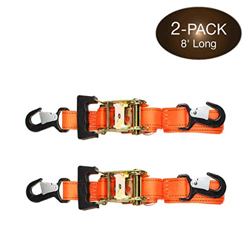 2 Heavy Duty Motorcycle Ratchet Tie Down Straps, 8' x 1-1/2 Safety Snap Hooks & Soft-tie D Ring, Cargo Accessory Securing Motorcycles, Dirt Bikes, Kayaks, Atvs, Utvs, Landscaping Equipment