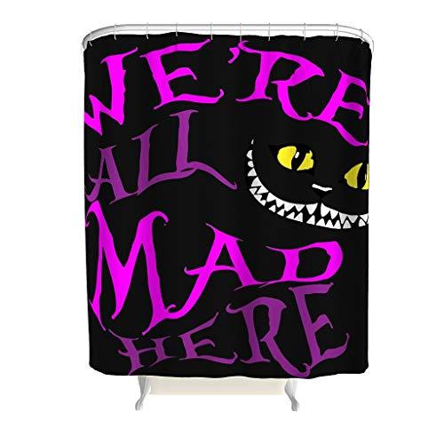 CUCIN We're All Mad Here Bunt Duschvorhang für Badezimmer - 2019 Cheshire Cat Thema Dekoration Design mit ABS-Haken Handzeichnungseffekt-Stoff Duschvorhang für Badezimmer White 180x200cm