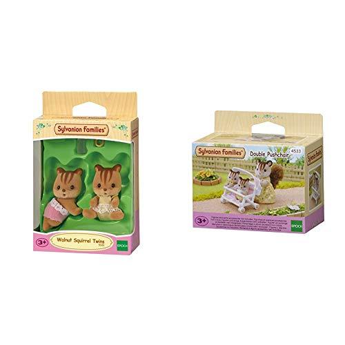SYLVANIAN FAMILIES Walnut Squirrel Twins Mini muñecas y Accesorios, (Epoch para Imaginar 5081) + 4533 Carrito para Gemelos [Importado de Alemania]