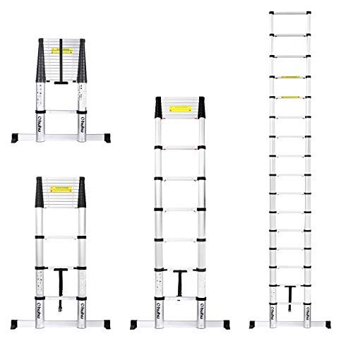 Ohuhu 15.5 FT Telescoping Ladder with Stabilizer Bar, EN131 Certified Convenient Aluminum Telescopic Extension Ladder, 330 Pound Capacity