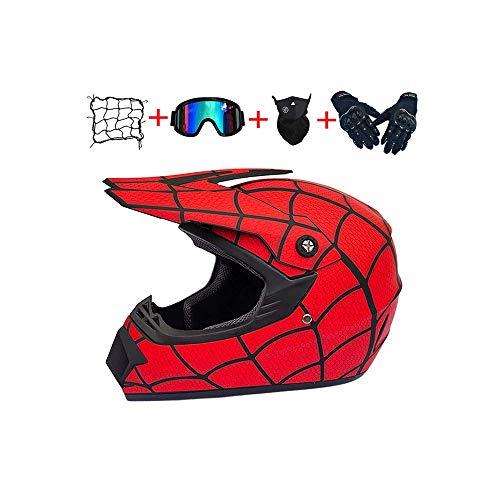 DZTIZI Motorfiets Motocross Helm Set Motorbike Off Road Crash Helm Beschermend Gear, met Goggles Handschoenen Masker Helm Net