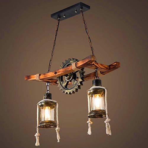 Rustikale Holz Pendelleuchte Vintage Eiche Hängeleuchte Esstisch Esszimmer Kronleuchter Industrial Metal Deckenleuchte Retro Deckenlampe Industrielampe Landhaus Leuchte Bar Droplight Schatten
