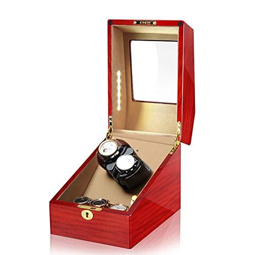 AMAFS Enrollador Automático de Reloj 2 + 3 Cajas de Almacenamiento de Madera con Luz LED Motor Silencioso para 5 Relojes con Cerradura Festival