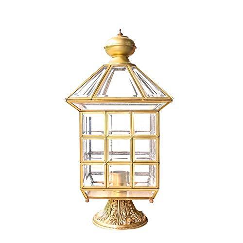 KMYX Américain de luxe en verre clair lanternes avec colonne externe Lumières Métal Laiton Outdoor pilier Lampe Villa Cour pelouse Éclairage sol