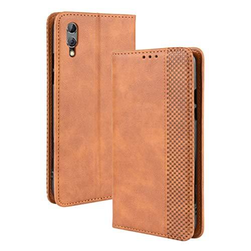 LUSHENG Xiaomi Black Shark 2 Pro Hülle, Superdünne Brieftasche Ledertasche mit Kreditkartenfach Standfunktion TPU-Innenschale für Xiaomi Black Shark 2 Pro - Braun