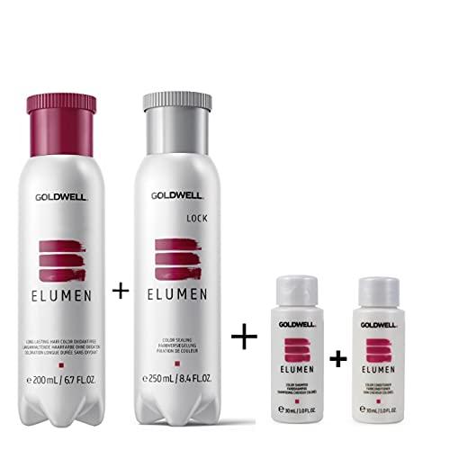 Goldwell Elumen Haarfarbe [Gy@9 Grau] 200ml + 250ml Lock Versiegelung + 30ml Color Shampoo + 30ml Color Conditioner