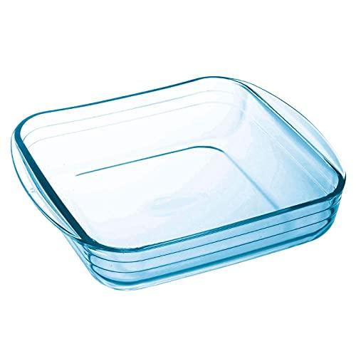 Ô Cuisine - Molde de vidrio cuadrado con asas 1L, 20 x 17 cm. Fuente para hornear, vidrio borosilicato, para horno y microondas