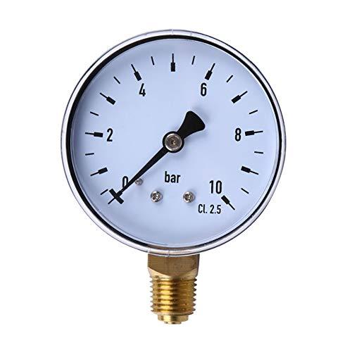 Preisvergleich Produktbild Ballylelly 1 / 4 Zoll NPT Seitenmontage 10 Bar Metall Wasser Öl Luftkompressor Manometer Manometer Druckmesswerkzeug