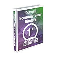 Samsill Economy 3 Ring Presentation View Binder, 1 Inch Round Ring – Holds 200 Sheets, Customizable Clear View Cover, White