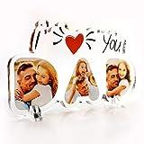 Babloo Targa in Plexiglass I Love You Dad Personalizzata con Foto Stampa UV su Plexiglass Acrilico Idea Regalo Festa del papà (11X20)