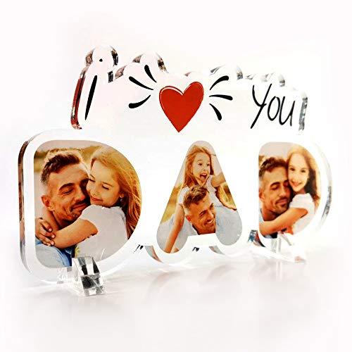 Babloo Targa in Plexiglass I Love You Dad Personalizzata con Foto Stampa UV su Plexiglass Acrilico Idea Regalo Festa del papà (16X30)