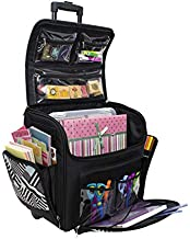 Everything Mary with Deluxe Teal Geometric Rolling Organizer Papercrafting Storage Tote for Paper, Binder, Tools, Scissors, Stamps-Telescoping Handle with Dual Wheels-Craft Case