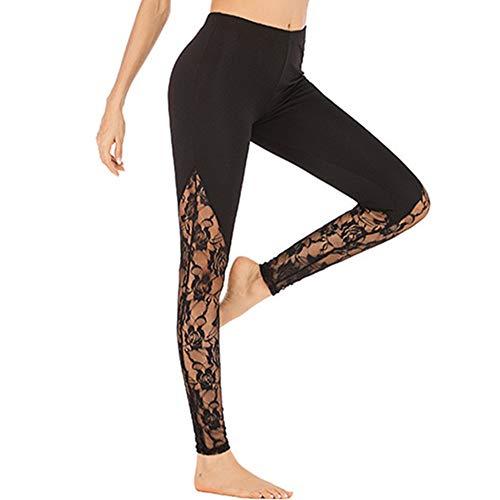 DistouNTL Pantalon de yoga avec coutures en dentelle à séchage rapide XL - Noir - L