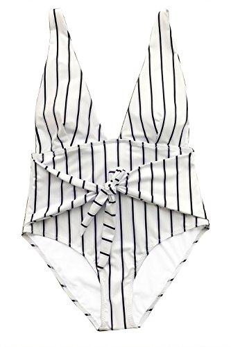 CUPSHE Women's Quiet Elegance Stripe One-Piece Swimsuit Beach Swimwear Bathing Suit (L)