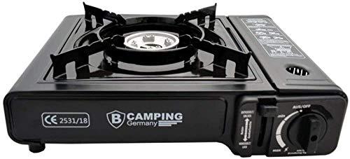 TronicXL Turbo Gaskocher Campingkocher 1-flammig Piezo-Zündung Alu-Brenner + 4X Kartusche Gasflasche Butan + Koffer Set