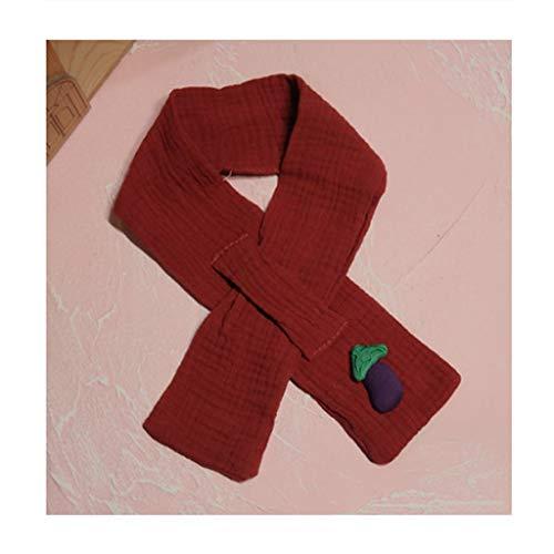 Unisex-Kinder-Schal, dick, modisch, einfarbig, für den Winter, warme Baumwolle, niedlicher Obst-Schal, mit Kreuz-Ausschnitt, Wickelschal, Geschenk (Farbe: Rot)
