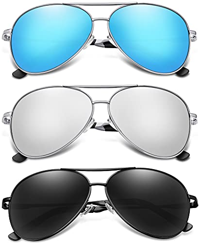3 Pack of Mirrored Lens Aviator Sunglasses, Blue, Silver and Black Lens. Other colors available