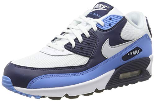 Nike Air Max 90 Essential, Chaussures de Gymnastique Homme, Blanc (White/Pure Platinum/Univ Blue/Midnight Navy 105), 44 EU
