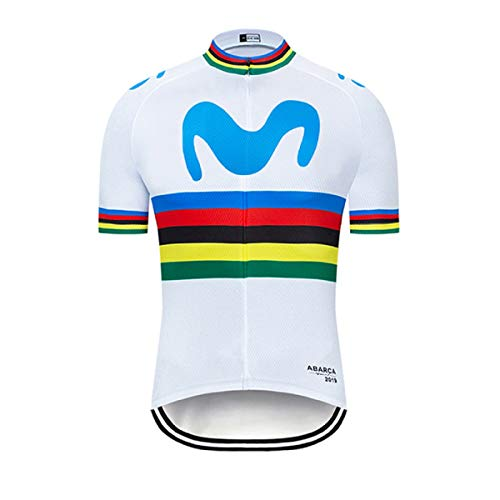 SUHINFE Maillot Ciclismo con Banda Elástica, 3 Bolsillos Traseros, Malla Transpirable y Cremallera Completa, M-WT, XL