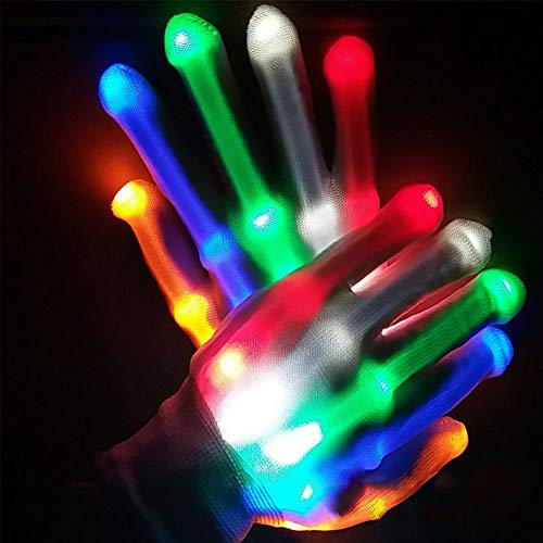 Yuccer Guantes con Iluminación LED Gloves Coloridos Rave Guantes para Halloween Navidad Niños Clubs Fiesta Carnaval Glow in The Dark Neón Party Favors (Rainbow)