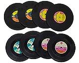 Selldorado® 8X Rutschfester Schallplatten Untersetzer, Schallplatten Deko Wand, Indie Deko, Getränke Untersetzer für Gläser, Retro Style (8 Stück)
