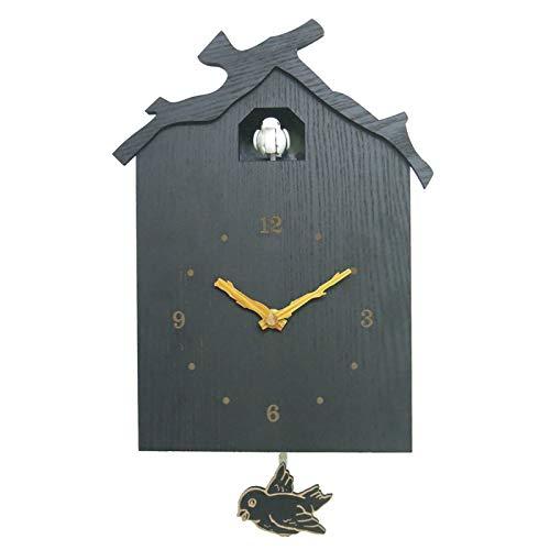 Reloj De Pared De Madera, Reloj De Pared De Cuco Llamativa Pequeña Casa De Pájaros con Decoración De Hogar De Pájaros Diseño Natural Simple