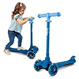 KicksyWheels Scooters for Kids - 3 Wheel Toddler Scooter for Boys & Girls - Toddlers and Kids Toys for 2 Years Old and Up - Three Heights & Light Up Wheels (Blizzard Blue, w/o Seat)