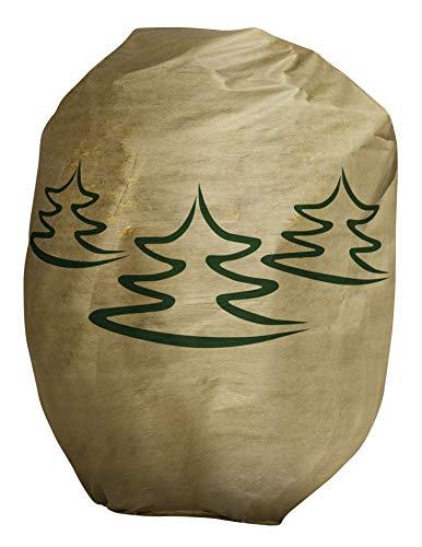 Windhager Winter-Deko-Vlieshaube Protect Kälteschutz Frostschutz Gartenvlies Abdeckvlies Tannenbaum-Motiv, Größe XXL, 1,4 x 2m, Beige, 07007