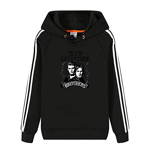 The Vampire Diaries Pullover Moda Jersey de Encargo Personalizada sólido de Color básico de Sudaderas con Capucha Gruesa de algodón Unisex (Color : Black0201, Size : XXL)