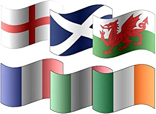 All 6 x Participating Six Nations Rugby 5'x3' Premium Quality Flags - England, Scotland, Ireland, Wales, France & Italy