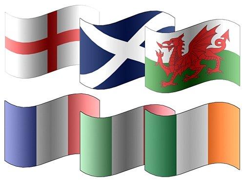 Alle 6 x Deelnemende Zes Volkeren Rugby 5'x3' Premium Kwaliteitsvlaggen - Engeland, Schotland, Ierland, Wales, Frankrijk & Italië