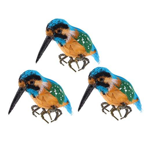 FLAMEER 3pcs Plastique Vif -pêcheur Oiseaux Ornement Statue De Jardin Créatif Décor Cadeaux Fête Affichage De Fête